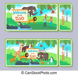 Zoo admission ticket vector template set