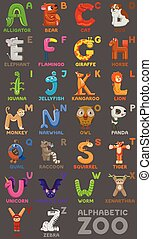 Zoo alphabet. Animal alphabet. Letters from A to Z. Cartoon...