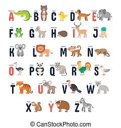 Zoo alphabet with cute cartoon animals
