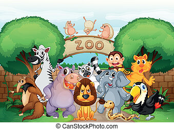 zoo and animals - illustration of zoo and animals in a...