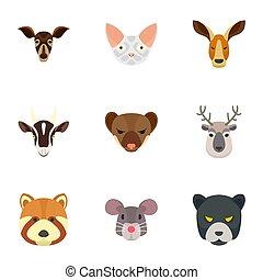 Zoo animal icon set, flat style