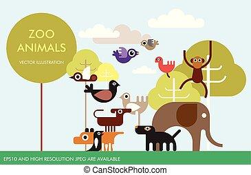 zoo, animales, vector, plantilla, diseño