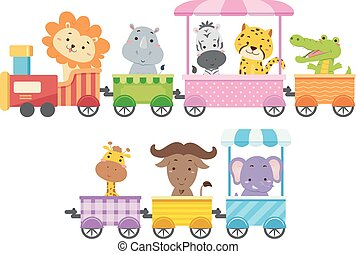 Zoo Animals Colorful Train Illustration