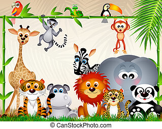 zoo animals - illustration of zoo animals