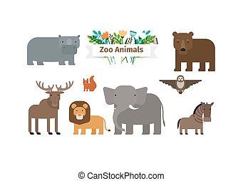 Zoo Animals Flat Icons Set
