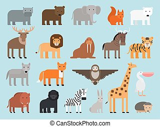 Zoo animals flat icons - Zoo animals flat colorful icons on...