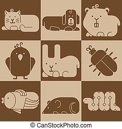 Zoo animals icons - stylized seamless background