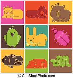 Zoo animals icons - stylized background