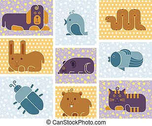 Zoo animals icons - stylized seamless background with used...