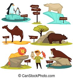 Zoo animals names and map direction wooden signs vector ...