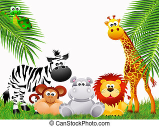 Zoo animals on white background