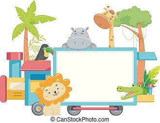 Zoo Animals Train Board Illustration