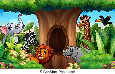 Zoo animals under the hollow tree landscape