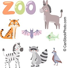 Zoo animals vector set.