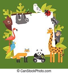 zoo, bannière, gabarit, animals.
