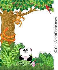 Zoo Border - A border with zoo animals - panda, snake, ...