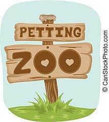 zoo, caricias, tabla, señal