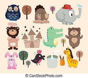 zoo, cartone animato, icona