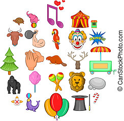 Zoo circus icons set, cartoon style