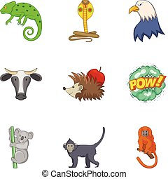 Zoo close icons set, cartoon style