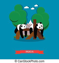 Zoo concept banner. Two panda bears taking a rest. Vector illustration in flat style design