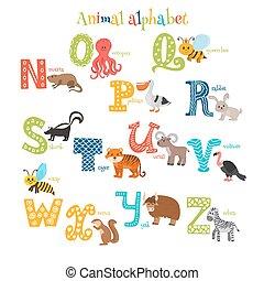 Zoo. Cute cartoon animals alphabet from N to Z in cartoon style