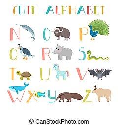 Zoo. Cute cartoon animals alphabet from N to Z