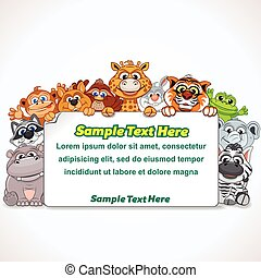 zoo, dessin animé, animal, signe