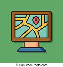 zoo, emplacement, informatique, gps, icône