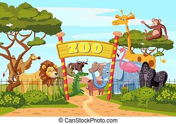 Bisonte animali cartone animato safari carattere. carattere