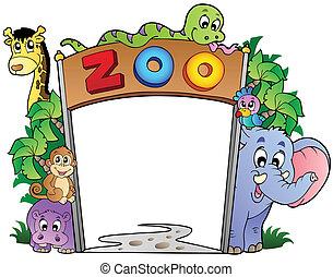 zoo, entrata, con, vario, animali