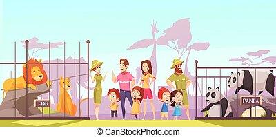 Zoo Family Visit Cartoon Poster