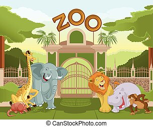 Zoo gate with african animals 1