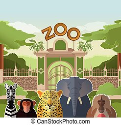 Zoo gate with african flat animals