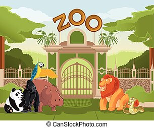 Zoo gate with animals 2