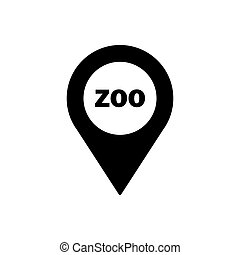 Zoo geo tag outline icon. Symbol, logo illustration for mobile concept and web design.