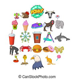 Zoo icons set, cartoon style
