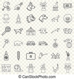 Zoo icons set, outline style