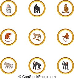 Zoo monkey icons set, cartoon style