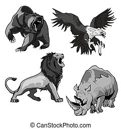 Zoo rhino, hawk, grizzly bear and savannah lion