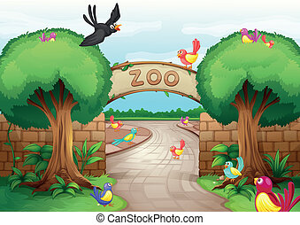 Zoo scene - Illustration of a zoo scene