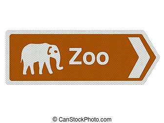 Zoo sign, isolated on white