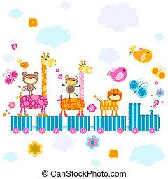 zoo train carrying happy animals