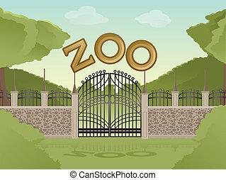 Zoo - Vector image of cartoon zoological garden background