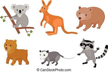 Zoo wild animals colorful set. Vector illustration.