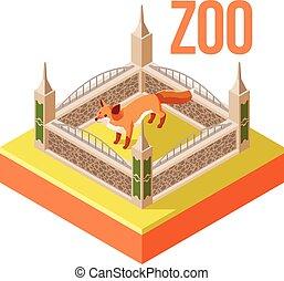 zoo, zorro, isométrico, icono