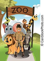 Zookeeper and wild animals