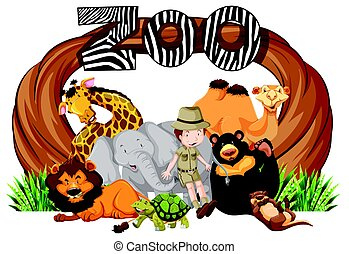 Zookeeper and wild animals at zoo entrance illustration