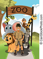 Zookeeper and wild animals - A vector illustration of a...