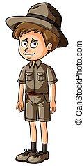 Zookeeper in brown uniform illustration